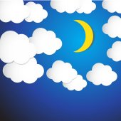 Abstract moon and cloud with blue sky background. Vector Illustr — Stock Vector