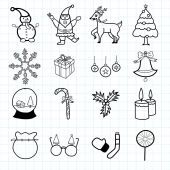 Original line hand drawn Christmas icon set — ストックベクタ