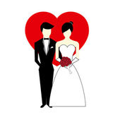 Vector Bride and Groom with Heart Illustration — Stock Vector