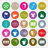 Soccer icons set circle vector illustration — Stock Vector