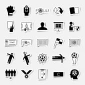 Soccer sticker icons set vector illustration — Stock Vector