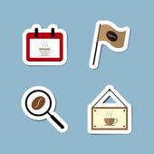 Coffee and tea flat icon set — Stock Vector