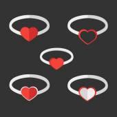 Valentine rings — Stock Vector