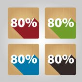 Flat wooden icons - 80 percent. — Stock Vector