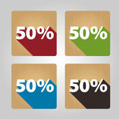 Flat wooden icons - 50 percent. — Stock Vector