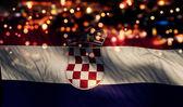 Croatia National Flag Light Night Bokeh Abstract Background — Stock Photo