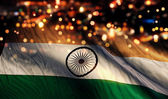 India National Flag Light Night Bokeh Abstract Background — Stock Photo