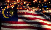 Malaysia National Flag Light Night Bokeh Abstract Background — Stock Photo