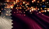 Qatar National Flag Light Night Bokeh Abstract Background — Stock Photo