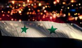 Syria National Flag Light Night Bokeh Abstract Background — Stock Photo