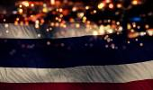 Thailand National Flag Light Night Bokeh Abstract Background — Stock Photo