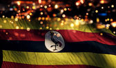 Uganda National Flag Light Night Bokeh Abstract Background — Stock Photo