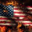 USA America Burning Fire Flag War Conflict Night 3D — Stock Photo #52932041