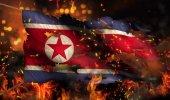 North Korea Burning Fire Flag War Conflict Night 3D — Stock Photo
