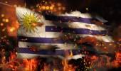 Urugwaj palenie ognia flaga wojny konflikt noc 3d — Zdjęcie stockowe