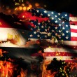 Egypt USA Flag War Torn Fire International Conflict 3D — Stock Photo #53139383