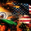 India USA Flag War Torn Fire International Conflict 3D — Stock Photo #53140113
