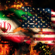 Iran USA Flag War Torn Fire International Conflict 3D — Stock Photo #53140927