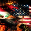 Iraq USA Flag War Torn Fire International Conflict 3D — Stock Photo #53141573