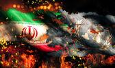 Iran UN Flag War Torn Fire International Conflict 3D — Стоковое фото