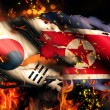 North Korea South Korean Flag War Torn Fire International Conflict 3D — Stock Photo #53702491