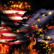 USA Europe National Flag War Torn Fire International Conflict 3D — Stock Photo #53704769
