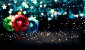 Hanging Baubles Christmas Blue Star Night Bokeh Beautiful 3D — Stock Photo
