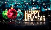 Gott nytt år hängande grannlåt blå bokeh vackra 3d — Stockfoto