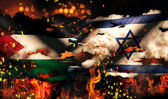 Palestine Israel Flag War Torn Fire International Conflict 3D — Stock Photo