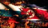 Russia North Korea Flag War Torn Fire International Conflict 3D — Stock Photo