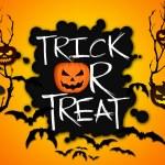 Trick or Treat Tree Halloween Pumpkins Bats Orange Background — Stock Photo #54989465