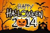 Happy Halloween 2014 Orange Pumpkin Night Graveyard — Stock Photo