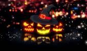 Halloween Glowing Pumpkins Night City Bokeh Background 3D — Stock Photo