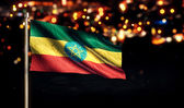 Ethiopia National Flag City Light Night Bokeh Background 3D — Stock Photo