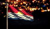 Kiribati National Flag City Light Night Bokeh Background 3D — Stock Photo
