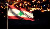 Libanonské národní vlajky města světlo v noci Bokeh pozadí 3d — Stock fotografie