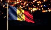 Moldova National Flag City Light Night Bokeh Background 3D — Stock Photo