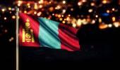 Mongolia National Flag City Light Night Bokeh Background 3D — Stock Photo