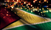Guyana National Flag Light Night Bokeh Abstract Background — Stock Photo