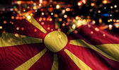 Republic of Macedonia National Flag Light Night Bokeh Abstract Background — Stock Photo