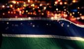Gambia National Flag Light Night Bokeh Abstract Background — Stock Photo