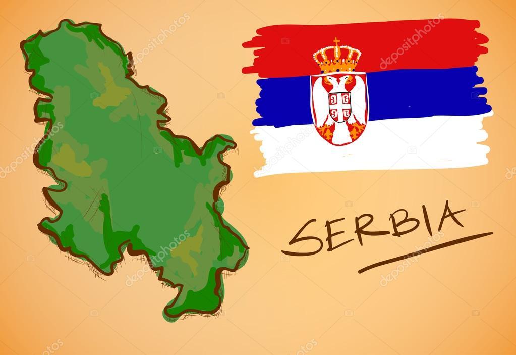 塞尔维亚地图和国旗矢量