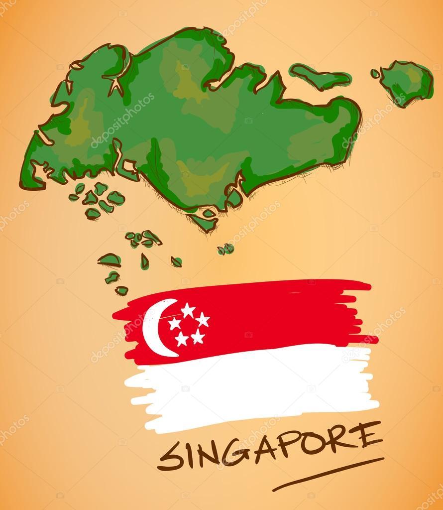 新加坡地图和国旗矢量
