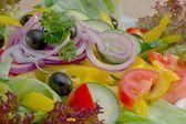 Vegetable salad ingredients — Stock Photo