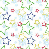 Seamless winter pattern with stars and snowflakes vector illustration — Stock Vector