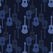 Music seamless pattern with guitars vector illustration — Vecteur