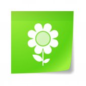 Sticky note with a flower — Stock Vector