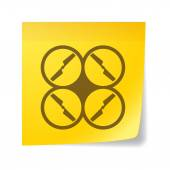 Sticky note with a drone — Stock Vector