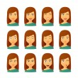 ������, ������: Female avatar expression set
