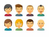 Male avatars with various hair styles — Stock Vector